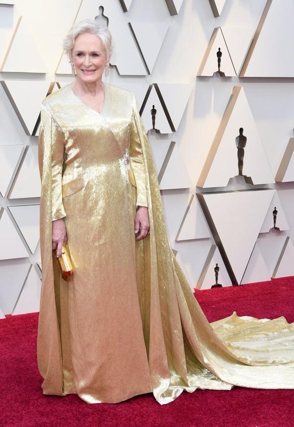 Die besten Outfits bei den Oscars 2019 Glenn Close goldfarbenes Kleid von Carolina Herrera