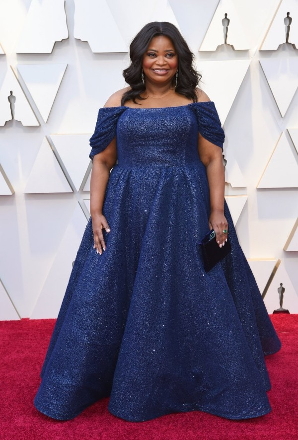 Die besten Outfits bei den Oscars 2019 Octavia Spencer im blauen Abendkleid von Christian Siriano