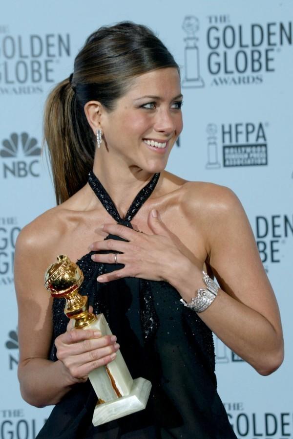 Jennifer Aniston seidiges Haar zum Pferdeschwanz gestylt 2003 Golden Globe Award