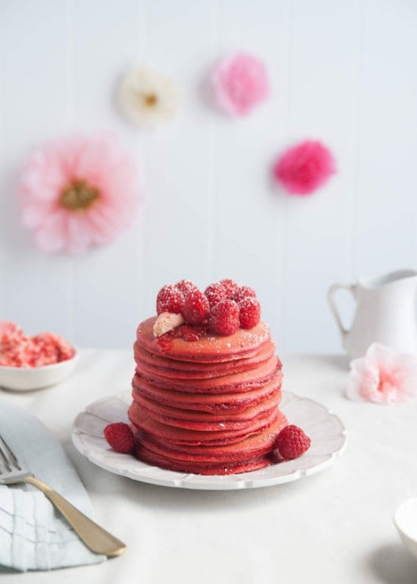 Rosa Pflannkuchen Ideen Valentinstag