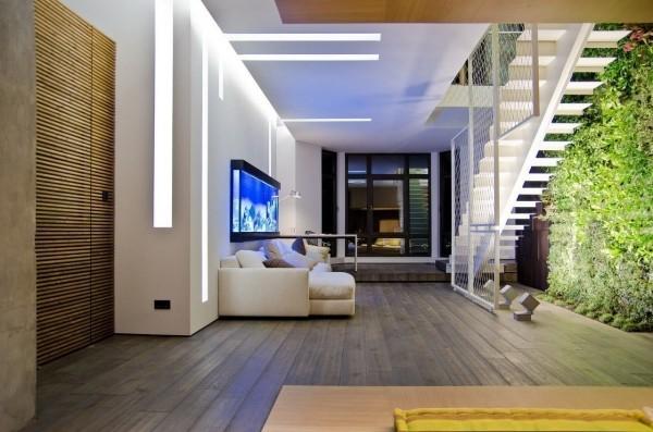 Treppenhaus eine vertikale grüne Fläche