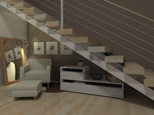 Treppenhaus weiße Möbeleinheiten