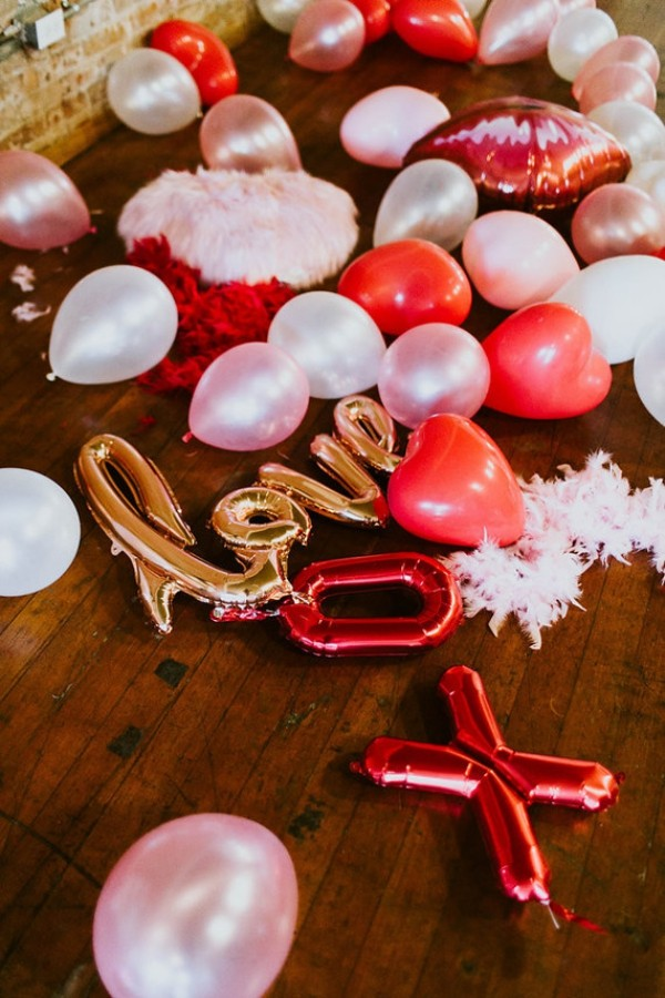 Valentinstag tolle Luftballons in rosa Farben