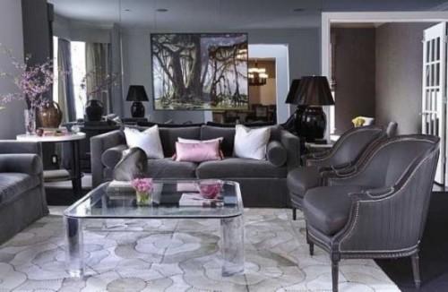 Wohnzimmer mit femininen Touches Hellgrau mit Hellrosa kombinieren