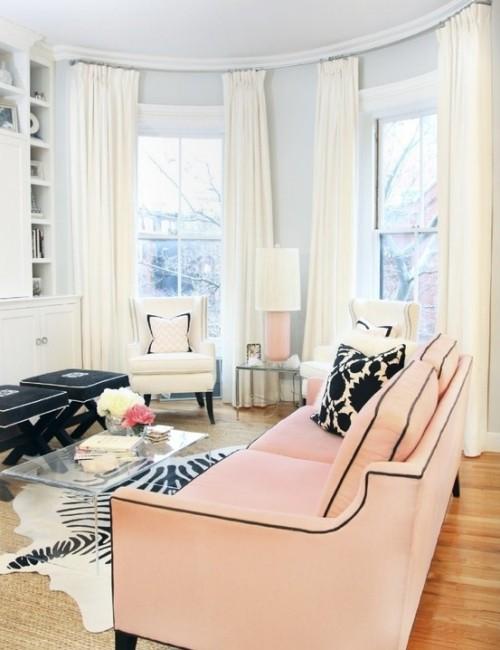 Wohnzimmer mit femininen Touches Hellrosa Farbwahl Nummer 1 der Frauen