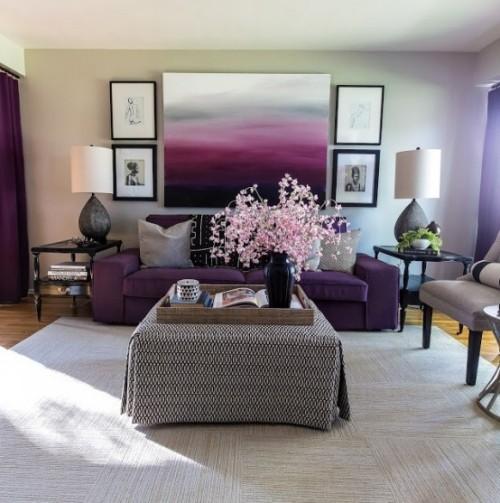 Wohnzimmer mit femininen Touches Kontraste erwünscht Lila Rosa Grau