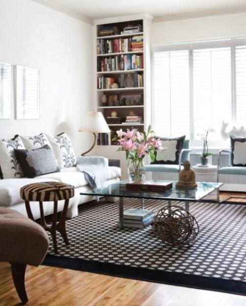 Wohnzimmer mit femininen Touches Kontraste sehr geschmackvolles Interieur