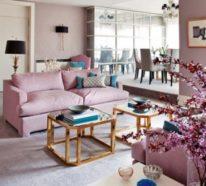 Wohnzimmer mit femininen Touches sehen luftig und elegant aus