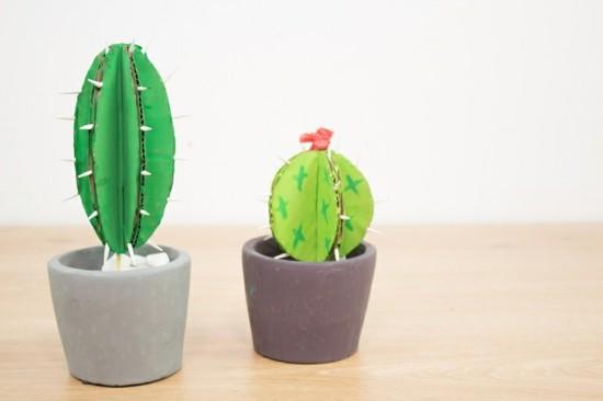 bastelideen kaktus deko aus karton