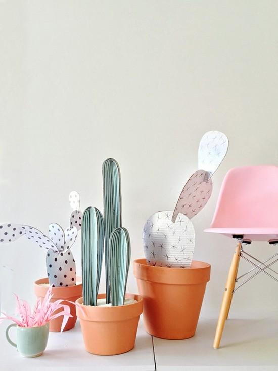 bunte kaktus deko aus karton