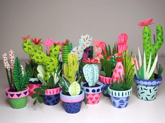 bunte kaktus deko basteln aus papier