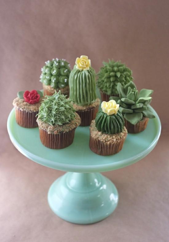 cupcakes ideen kaktus deko