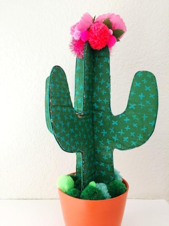 diy kaktus deko idee aus karton