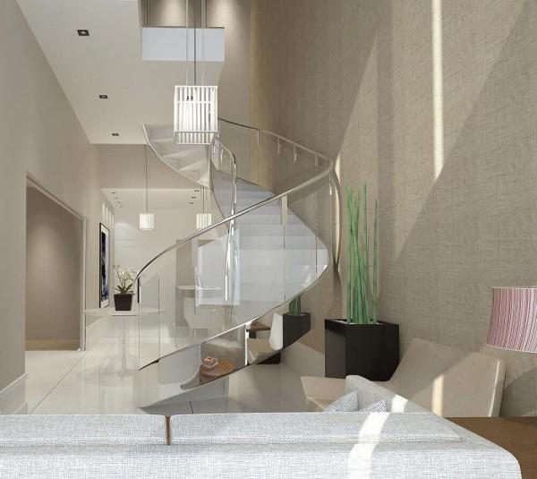 glanzvolle weiße Fläche Treppenhaus
