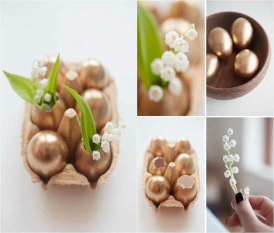 goldene eier tischdeko selber machen
