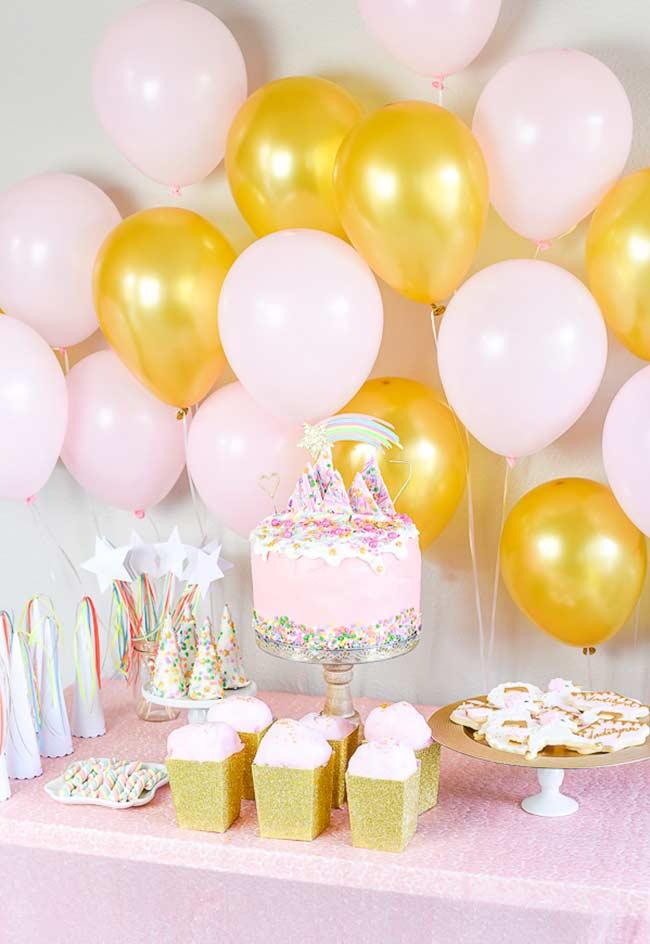 goldene und rosa ballons Einhorn bastelideen