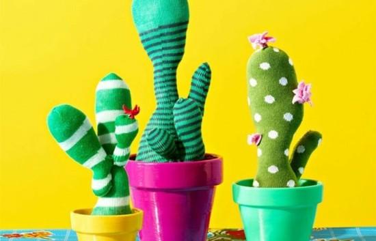 kaktus deko aus alten socken