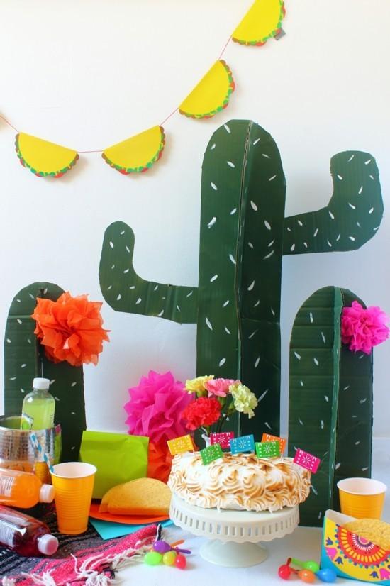 kaktus deko aus karton basteln kindergeburtstag