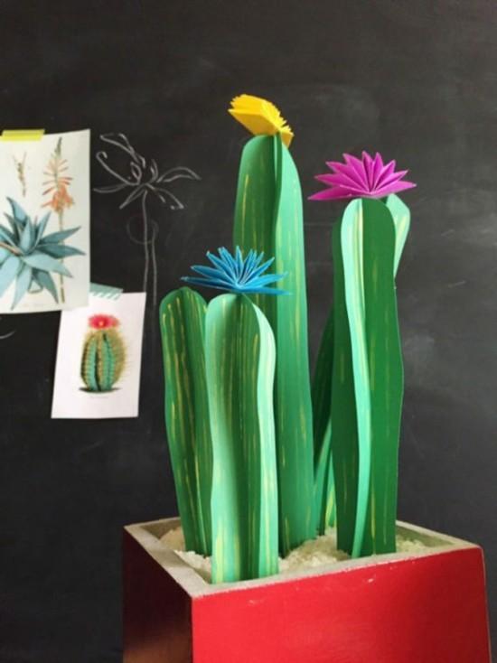 kaktus deko aus papier