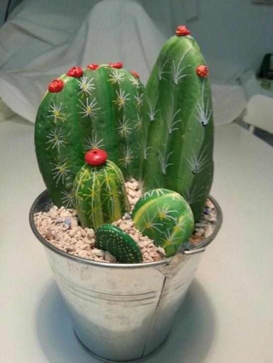 kaktus deko aus steinen basteln