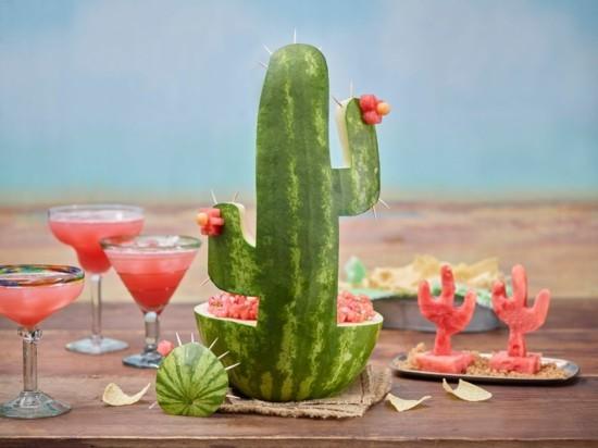 kaktus deko aus wassermelone