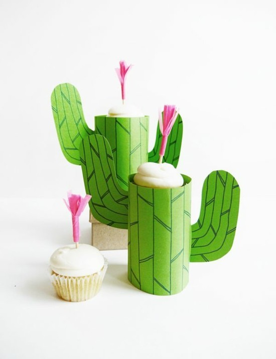 kaktus deko basteln aus klorollen