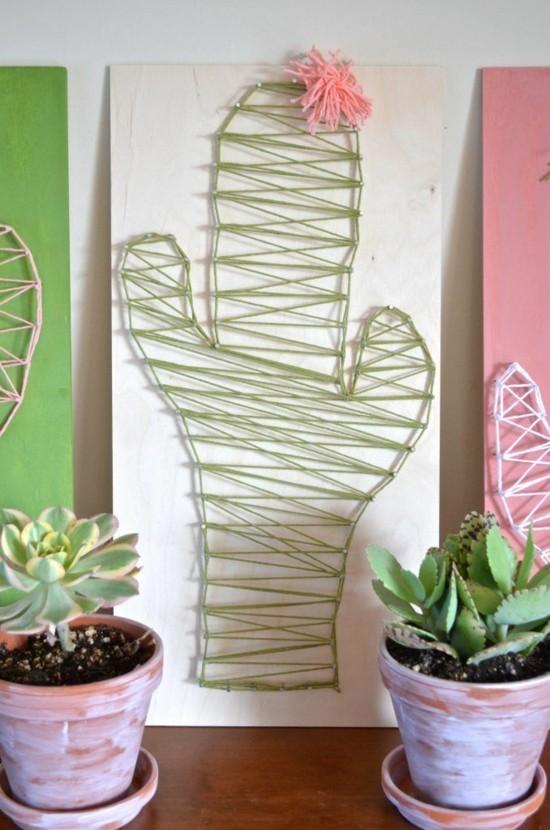 kaktus deko basteln mit fäden