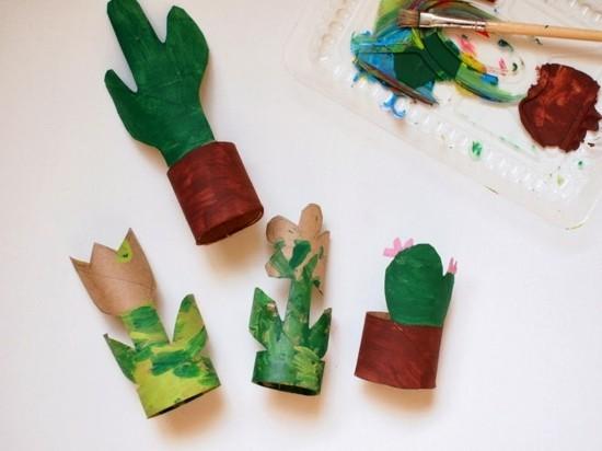 kaktus deko basteln mit kindern aus klorollen