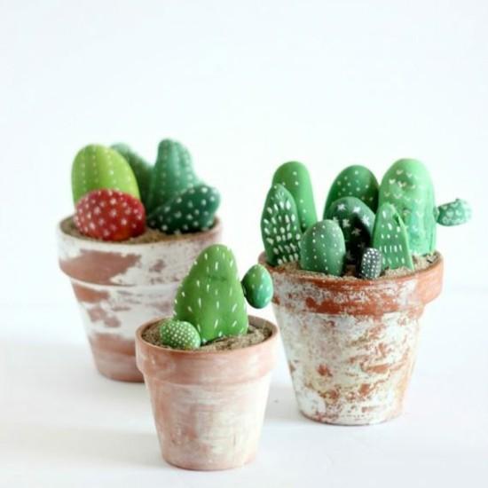 kaktus deko selber machen steine bemalen