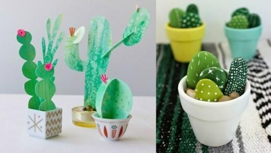 karton steine kaktus deko ideen
