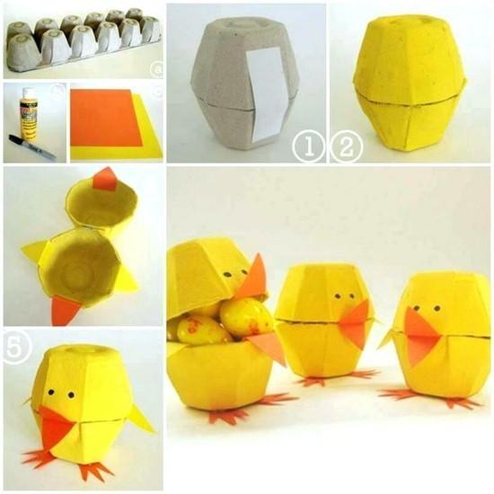 kleine küken tischdeko selber machen aus eierkarton