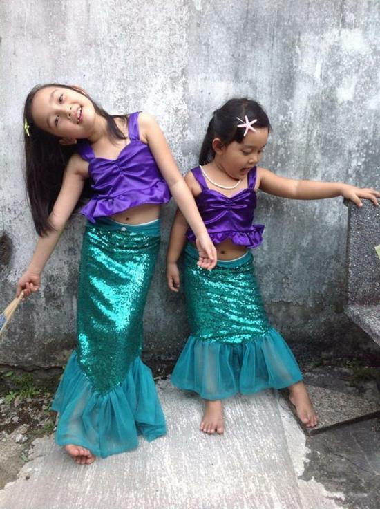 kleine meerjungfrauen faschingskostüme kinder