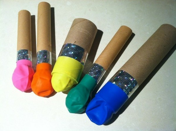 konfettikanone basteln mit ballons und karton