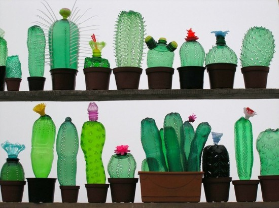kunstvolle kaktus deko aus plastikflaschen