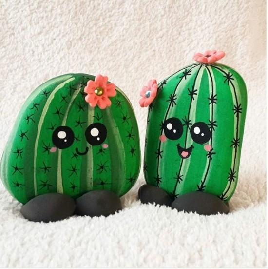 lustige kaktus deko steine bemalen