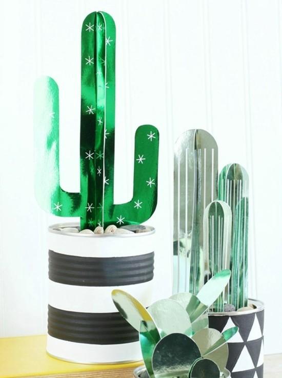 minimalistische kaktus deko aus karton
