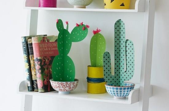 originelle kaktus deko basteln aus karton