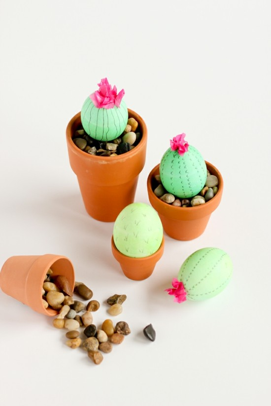 ostereier kaktus tischdeko selber machen