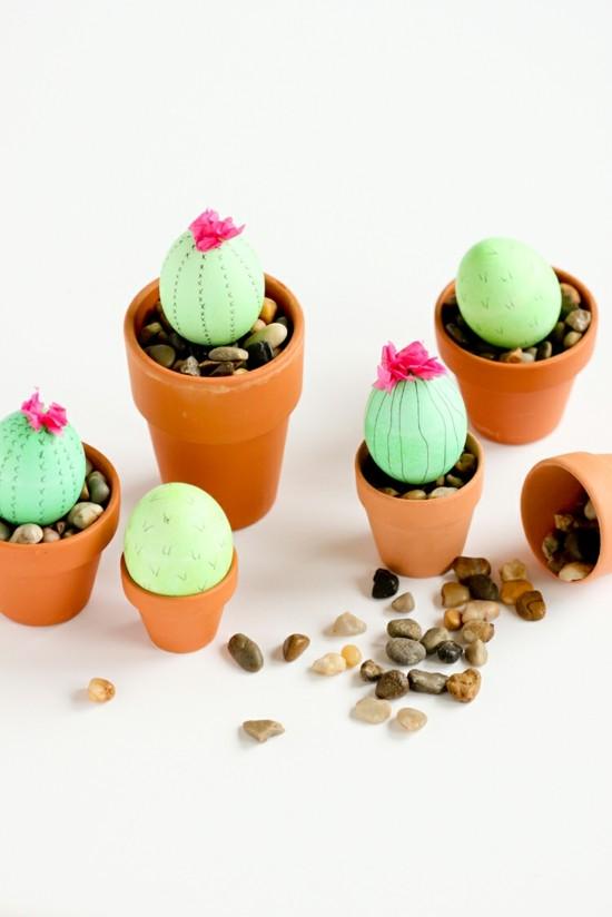 ostereier tischdeko selber machen in kaktus form