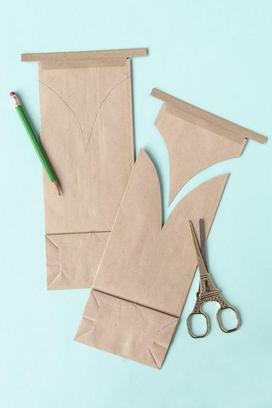 osterhase aus papiertüte tischdeko selber machen