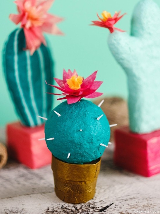 pappmaschee kaktus deko basteln