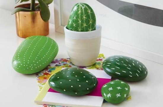 steine bemalen ideen kaktus