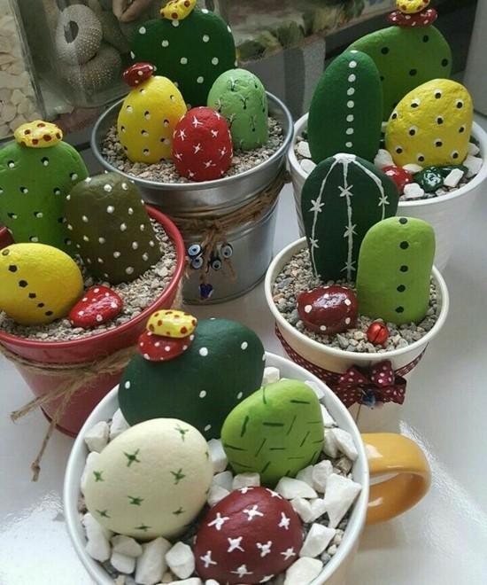 steine bemalen kaktus deko basteln