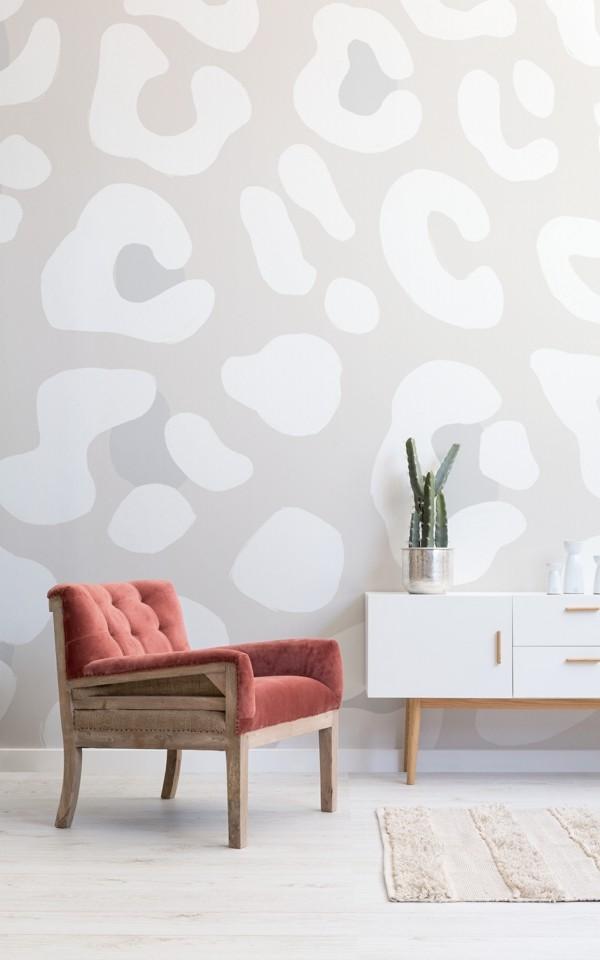 tapetentrend leopard wohnzimmer