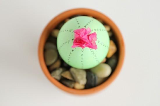 tischdeko selber machen kaktus aus osterei