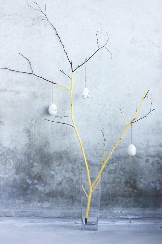 tischdeko selber machen minimalistischer osterbaum