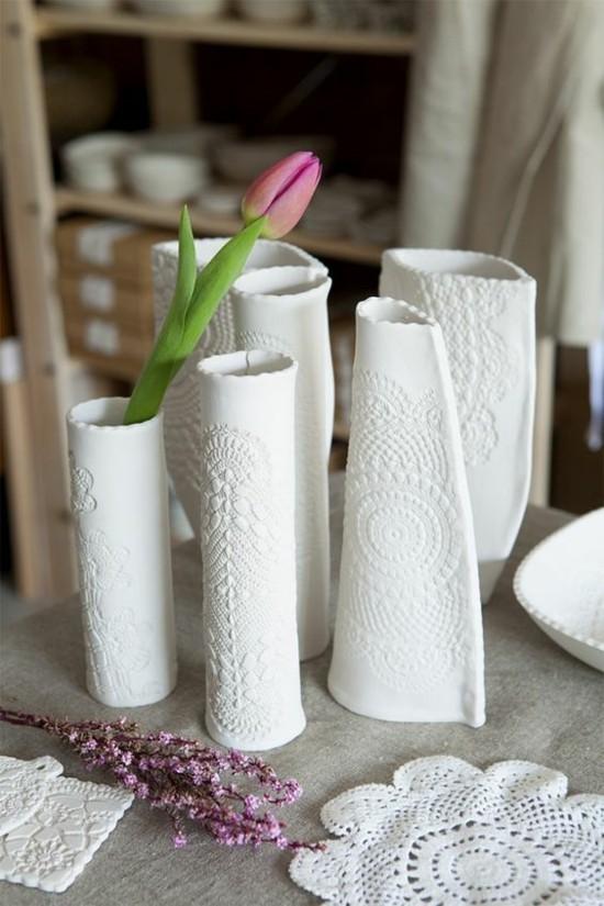 tischdeko selber machen vase mit spitze basteln