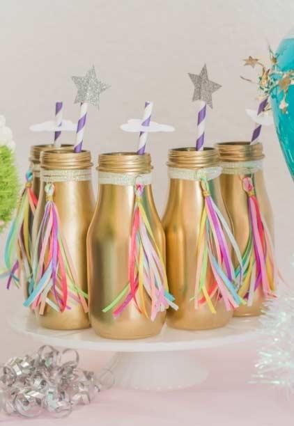 vergoldete flaschen Einhorn bastelideen