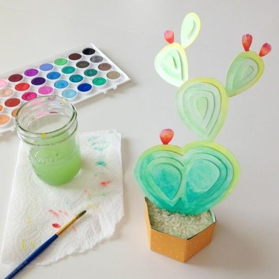 wasserfarben kaktus deko aus papier