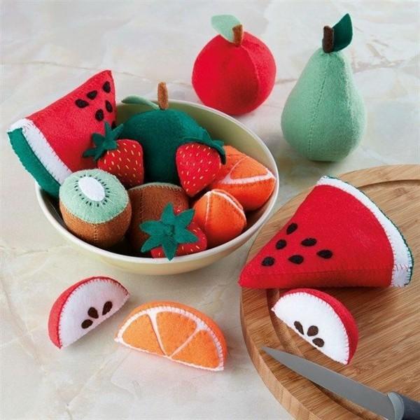 Babyspielzeug selber nähen Filz Obst